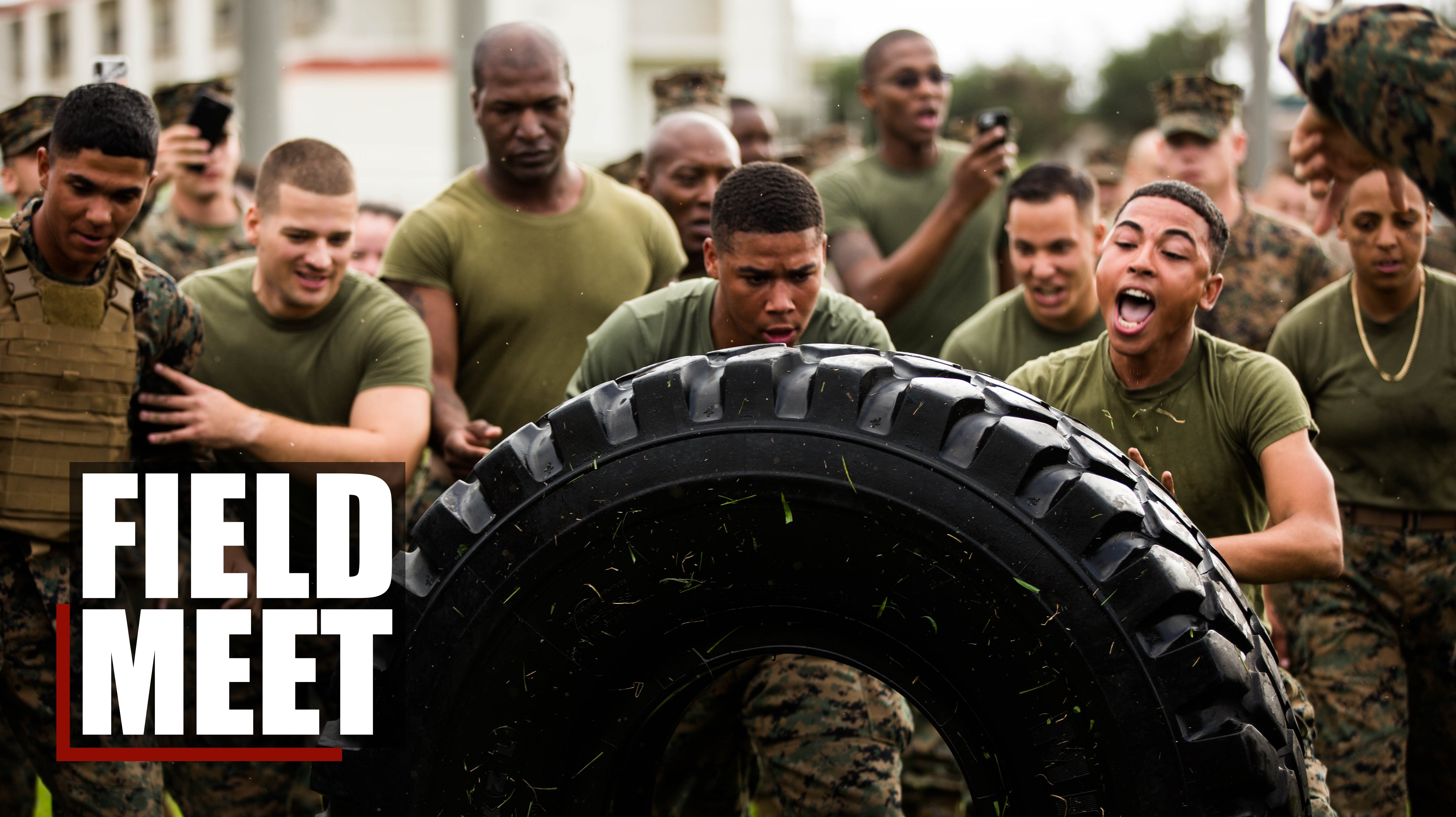 Marines with 3rd Marine Division compete in a field meet